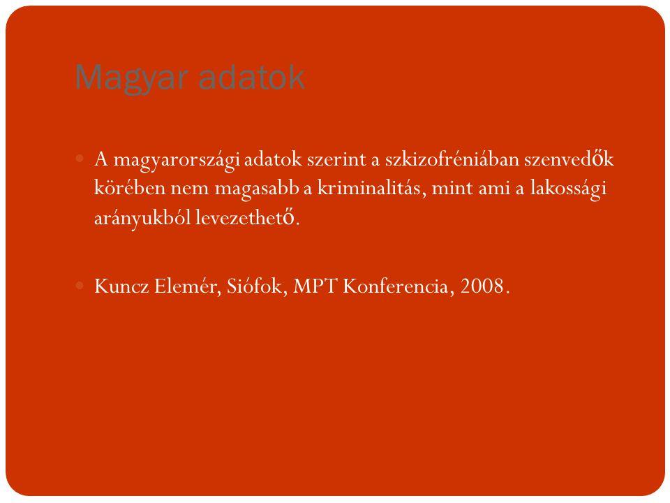 Magyar adatok A magyarországi adatok szerint a szkizofréniában szenved ő k körében nem magasabb a kriminalitás, mint ami a lakossági arányukból leveze