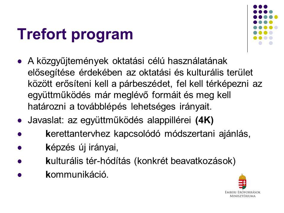 Trefort program A közgyűjtemények oktatási célú használatának elősegítése érdekében az oktatási és kulturális terület között erősíteni kell a párbeszédet, fel kell térképezni az együttműködés már meglévő formáit és meg kell határozni a továbblépés lehetséges irányait.
