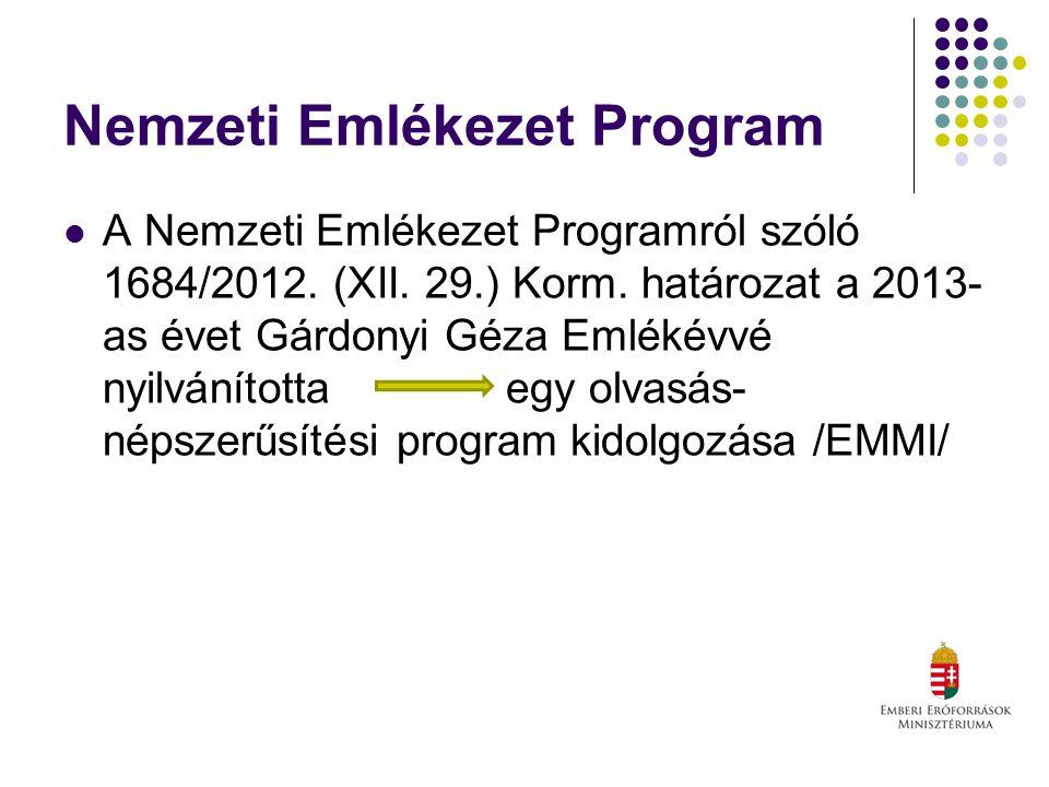 Nemzeti Emlékezet Program A Nemzeti Emlékezet Programról szóló 1684/2012.