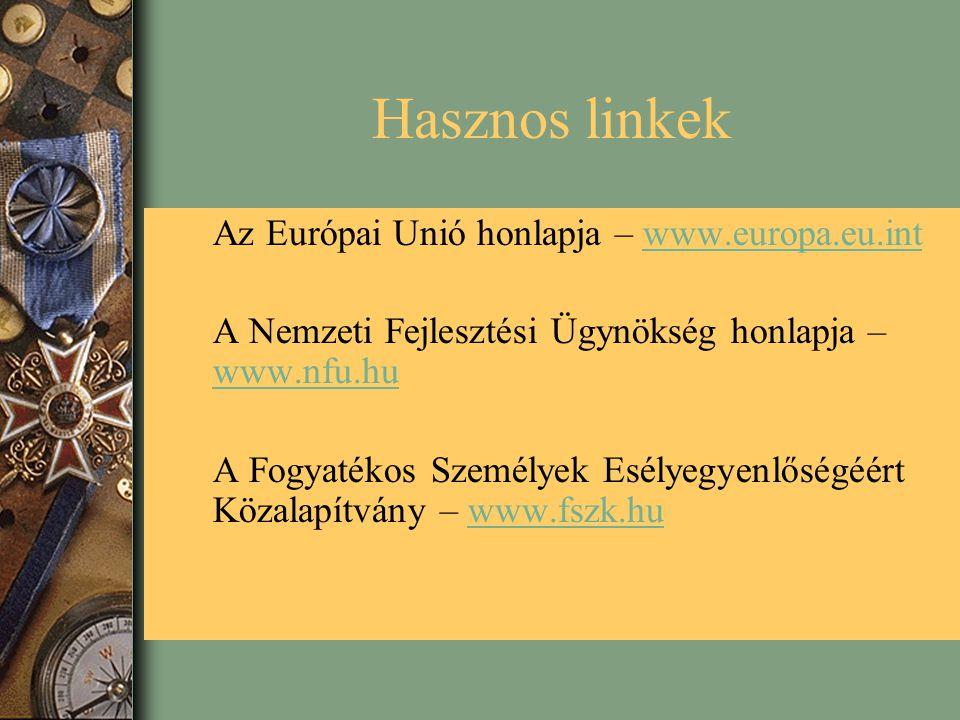 Hasznos linkek Az Európai Unió honlapja – www.europa.eu.intwww.europa.eu.int A Nemzeti Fejlesztési Ügynökség honlapja – www.nfu.hu www.nfu.hu A Fogyatékos Személyek Esélyegyenlőségéért Közalapítvány – www.fszk.huwww.fszk.hu
