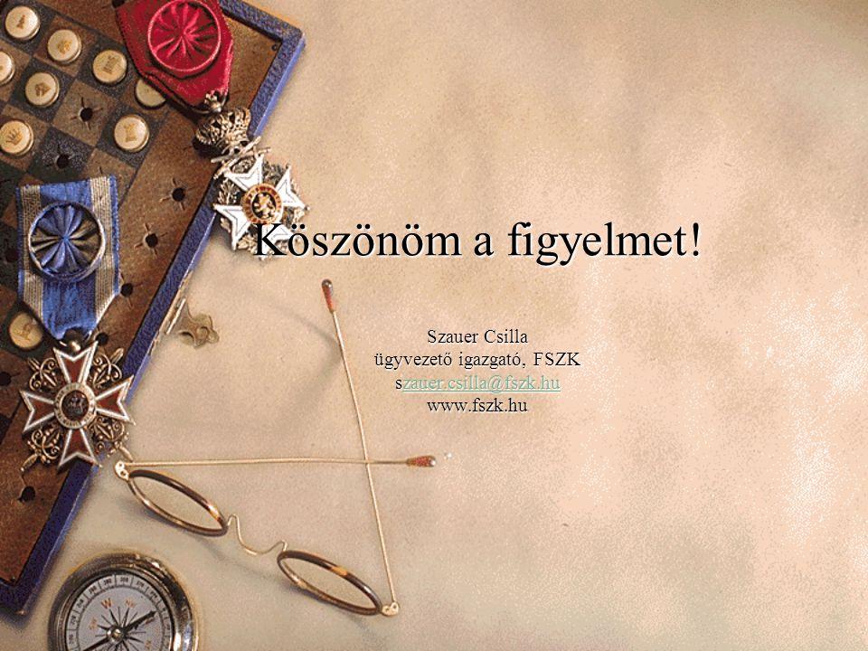Köszönöm a figyelmet! Szauer Csilla ügyvezető igazgató, FSZK szauer.csilla@fszk.hu www.fszk.hu zauer.csilla@fszk.hu