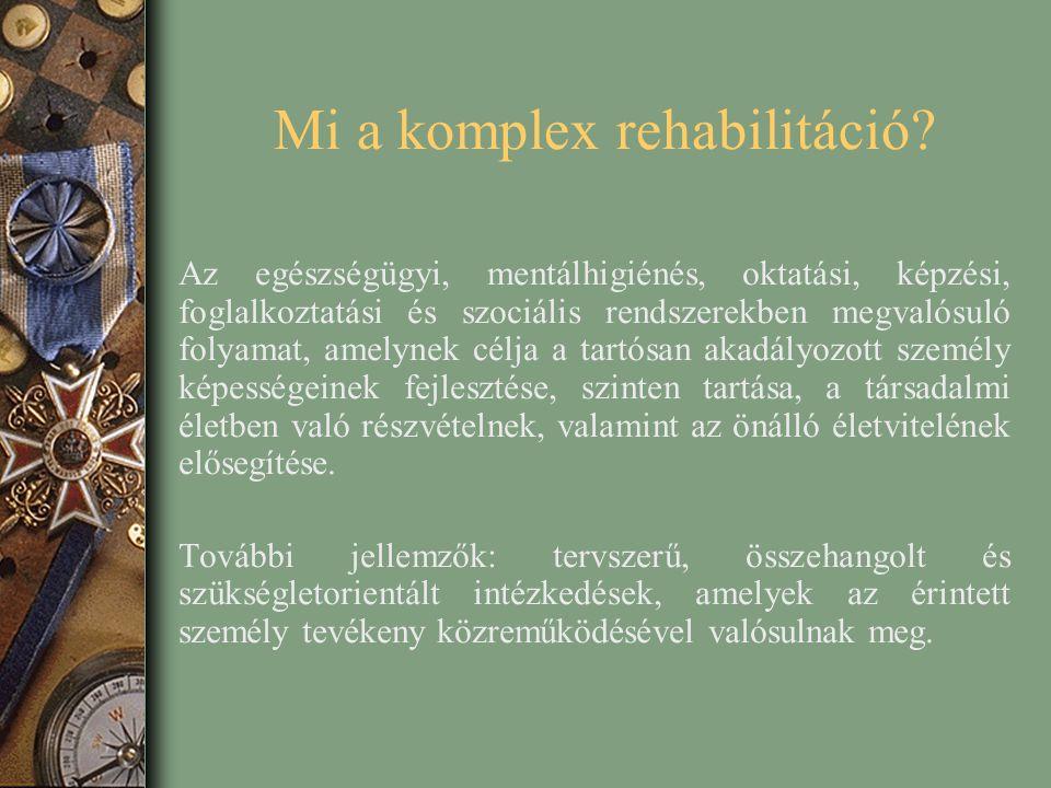Mi a komplex rehabilitáció? Az egészségügyi, mentálhigiénés, oktatási, képzési, foglalkoztatási és szociális rendszerekben megvalósuló folyamat, amely