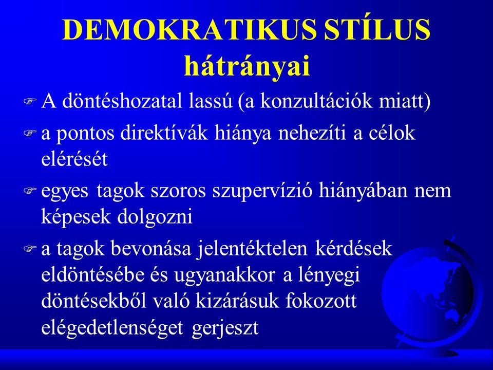 DEMOKRATIKUS STÍLUS hátrányai F A döntéshozatal lassú (a konzultációk miatt) F a pontos direktívák hiánya nehezíti a célok elérését F egyes tagok szor