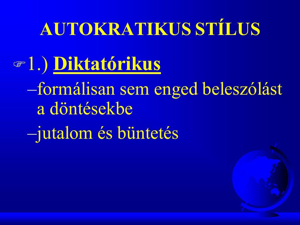 AUTOKRATIKUS STÍLUS F 1.) Diktatórikus –formálisan sem enged beleszólást a döntésekbe –jutalom és büntetés