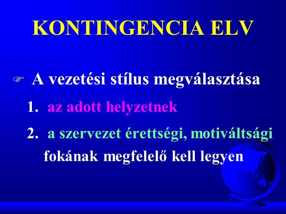 KONTINGENCIA ELV F A vezetési stílus megválasztása 1. az adott helyzetnek 2. a szervezet érettségi, motiváltsági fokának megfelelő kell legyen