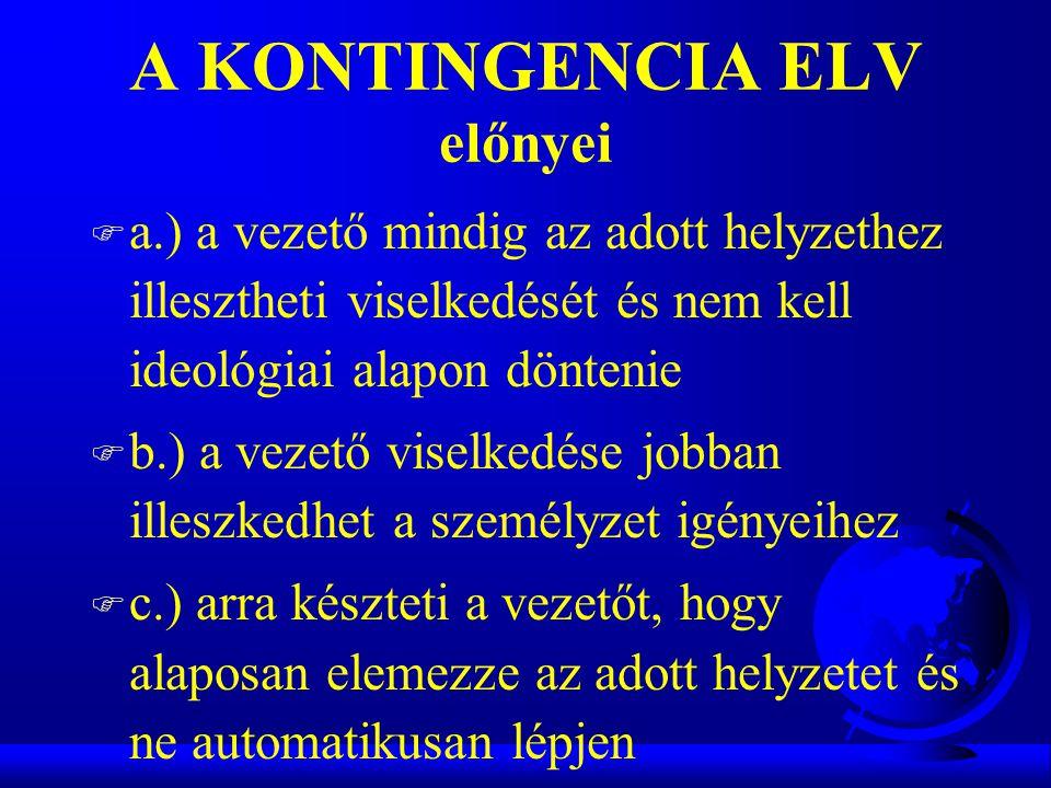 A KONTINGENCIA ELV előnyei F a.) a vezető mindig az adott helyzethez illesztheti viselkedését és nem kell ideológiai alapon döntenie F b.) a vezető vi