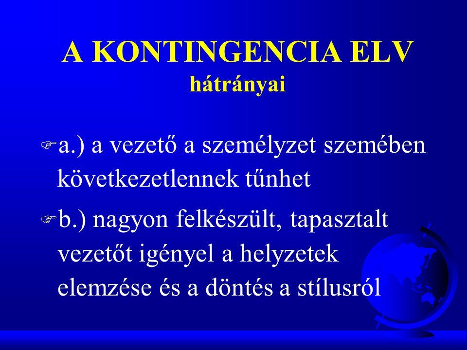 A KONTINGENCIA ELV hátrányai F a.) a vezető a személyzet szemében következetlennek tűnhet F b.) nagyon felkészült, tapasztalt vezetőt igényel a helyze