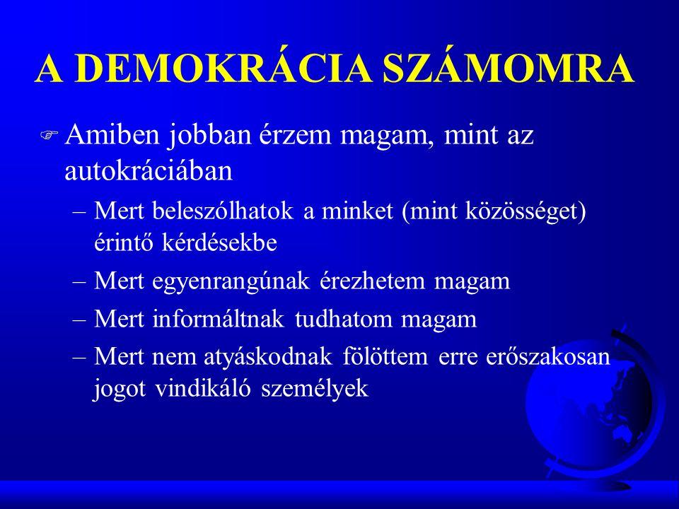 A DEMOKRÁCIA SZÁMOMRA F Amiben jobban érzem magam, mint az autokráciában –Mert beleszólhatok a minket (mint közösséget) érintő kérdésekbe –Mert egyenr