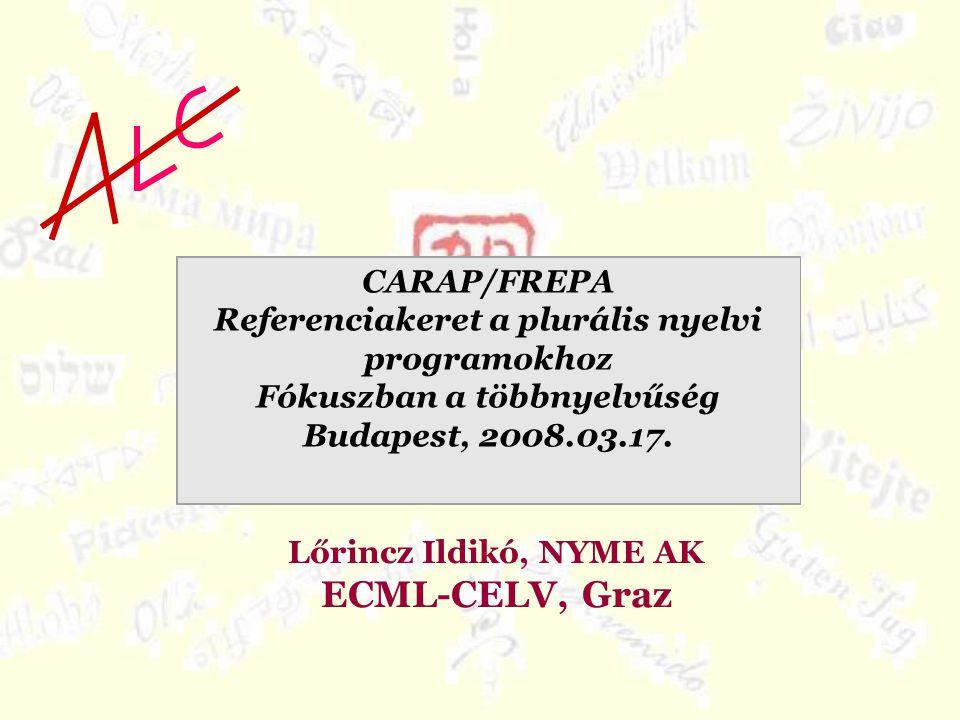 Lőrincz Ildikó, NYME AK ECML-CELV, Graz CARAP/FREPA Referenciakeret a plurális nyelvi programokhoz Fókuszban a többnyelvűség Budapest, 2008.03.17.