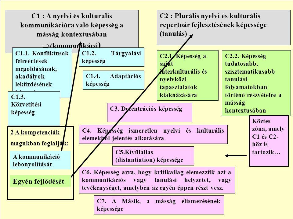 C2 : Plurális nyelvi és kulturális repertoár fejlesztésének képessége (tanulás) C1 : A nyelvi és kulturális kommunikációra való képesség a másság kont