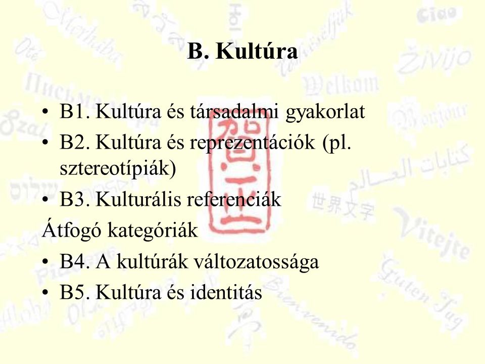 B. Kultúra B1. Kultúra és társadalmi gyakorlat B2. Kultúra és reprezentációk (pl. sztereotípiák) B3. Kulturális referenciák Átfogó kategóriák B4. A ku