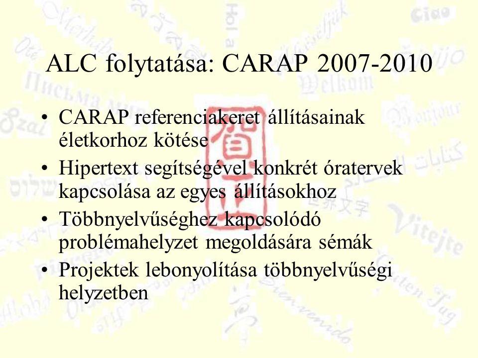 ALC folytatása: CARAP 2007-2010 CARAP referenciakeret állításainak életkorhoz kötése Hipertext segítségével konkrét óratervek kapcsolása az egyes állításokhoz Többnyelvűséghez kapcsolódó problémahelyzet megoldására sémák Projektek lebonyolítása többnyelvűségi helyzetben