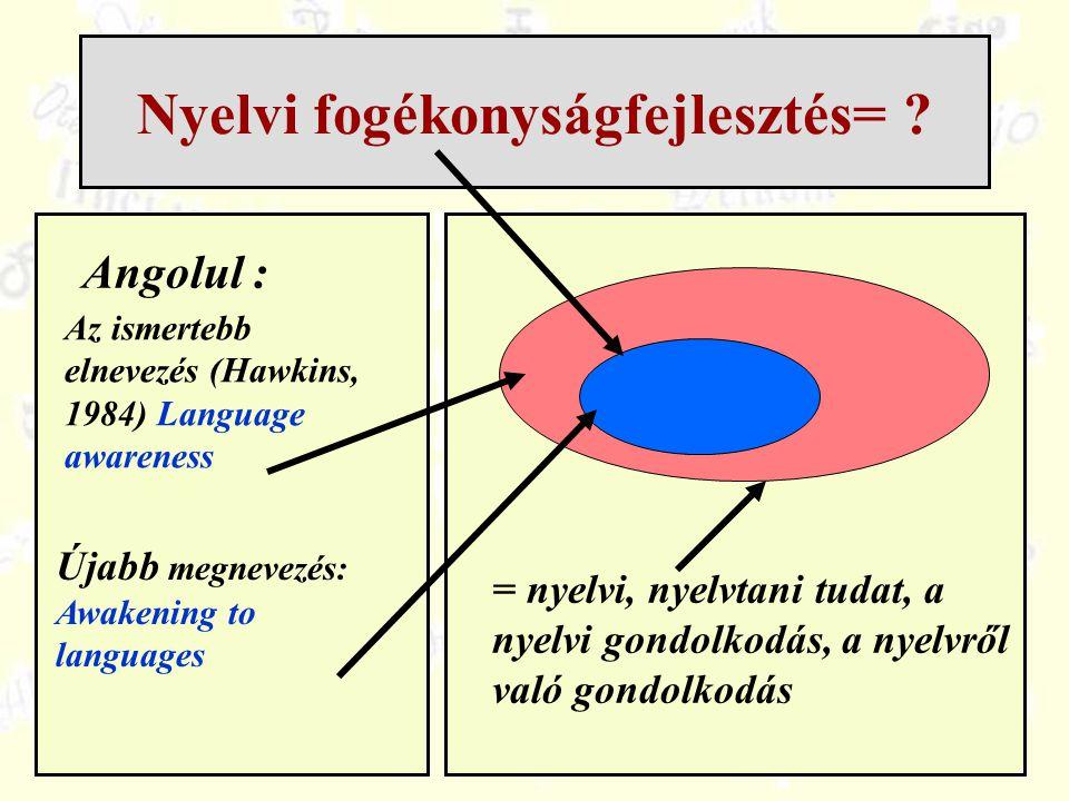 Nyelvi fogékonyságfejlesztés= ? Angolul : Újabb megnevezés: Awakening to languages = nyelvi, nyelvtani tudat, a nyelvi gondolkodás, a nyelvről való go