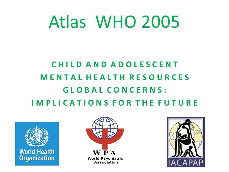 Az Atlas megállapításai Az epidemiológiai adatok azt mutatják, hogy világszerte a gyermek és serdülőkori mentálhigiénés zavarok előfordulása 20 % körül van, s ezen állapotok kb.