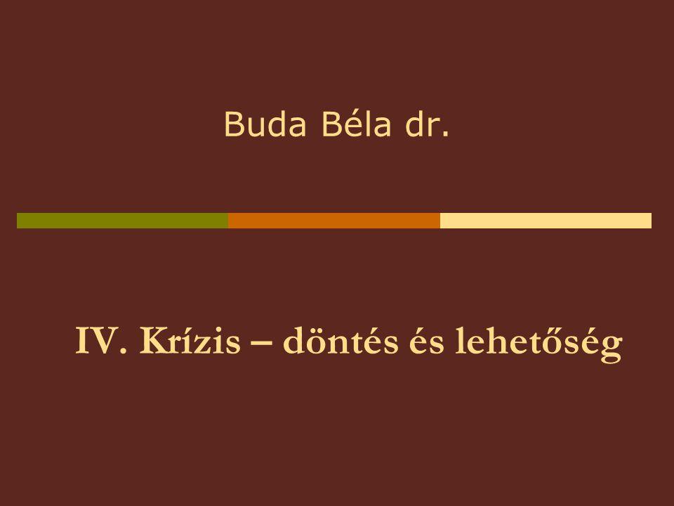 IV. Krízis – döntés és lehetőség Buda Béla dr.