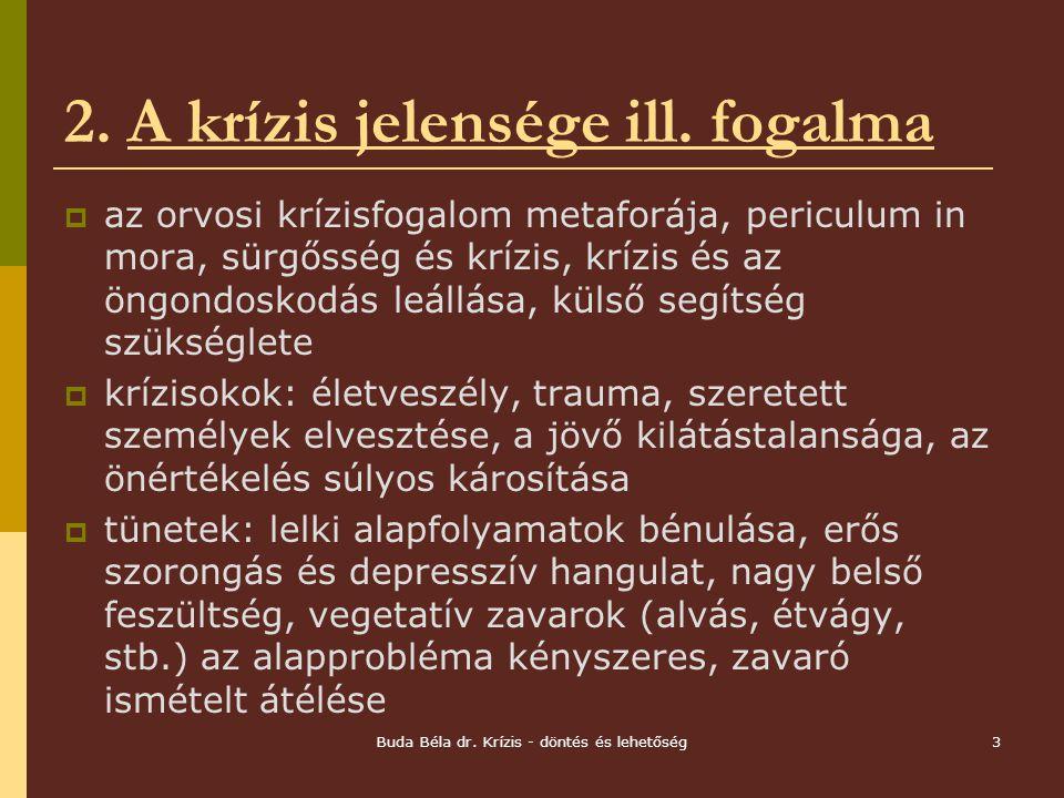 Buda Béla dr.Krízis - döntés és lehetőség3 2. A krízis jelensége ill.