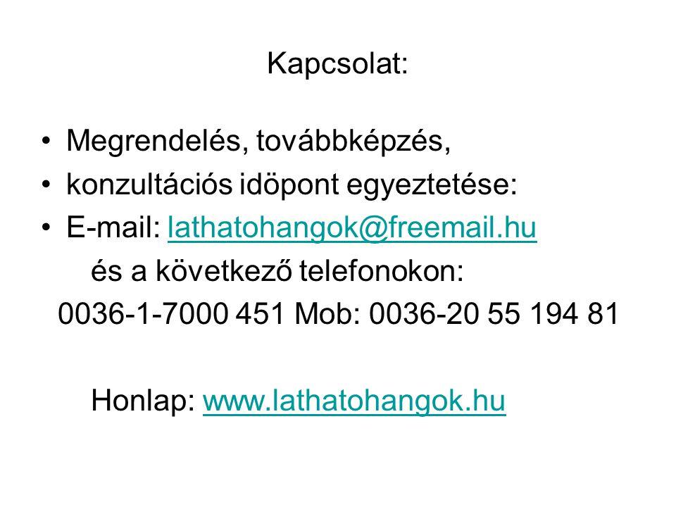 Kapcsolat: Megrendelés, továbbképzés, konzultációs idöpont egyeztetése: E-mail: lathatohangok@freemail.hulathatohangok@freemail.hu és a következő tele