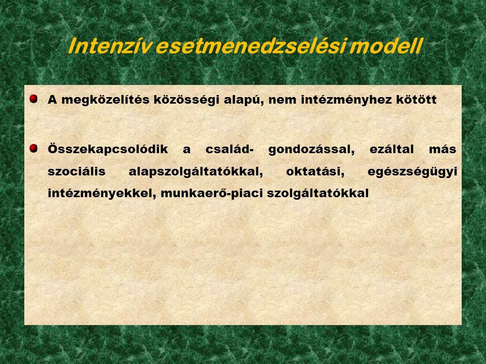 Intenzív esetmenedzselési modell A megközelítés közösségi alapú, nem intézményhez kötött Összekapcsolódik a család- gondozással, ezáltal más szociális