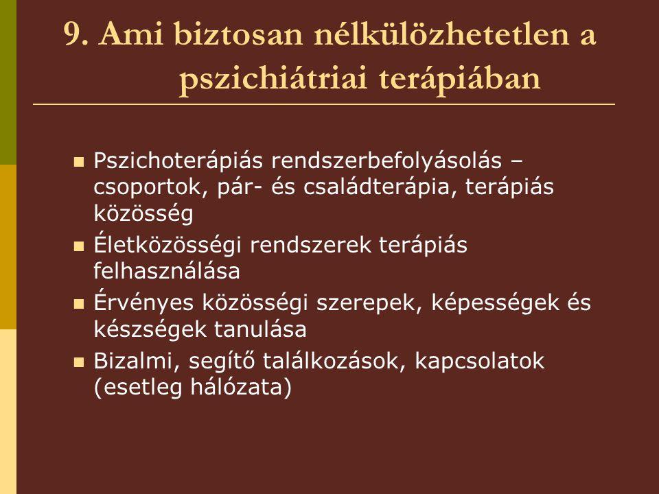 9. Ami biztosan nélkülözhetetlen a pszichiátriai terápiában Pszichoterápiás rendszerbefolyásolás – csoportok, pár- és családterápia, terápiás közösség