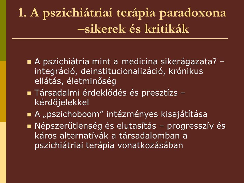 1. A pszichiátriai terápia paradoxona –sikerek és kritikák A pszichiátria mint a medicina sikerágazata? – integráció, deinstitucionalizáció, krónikus
