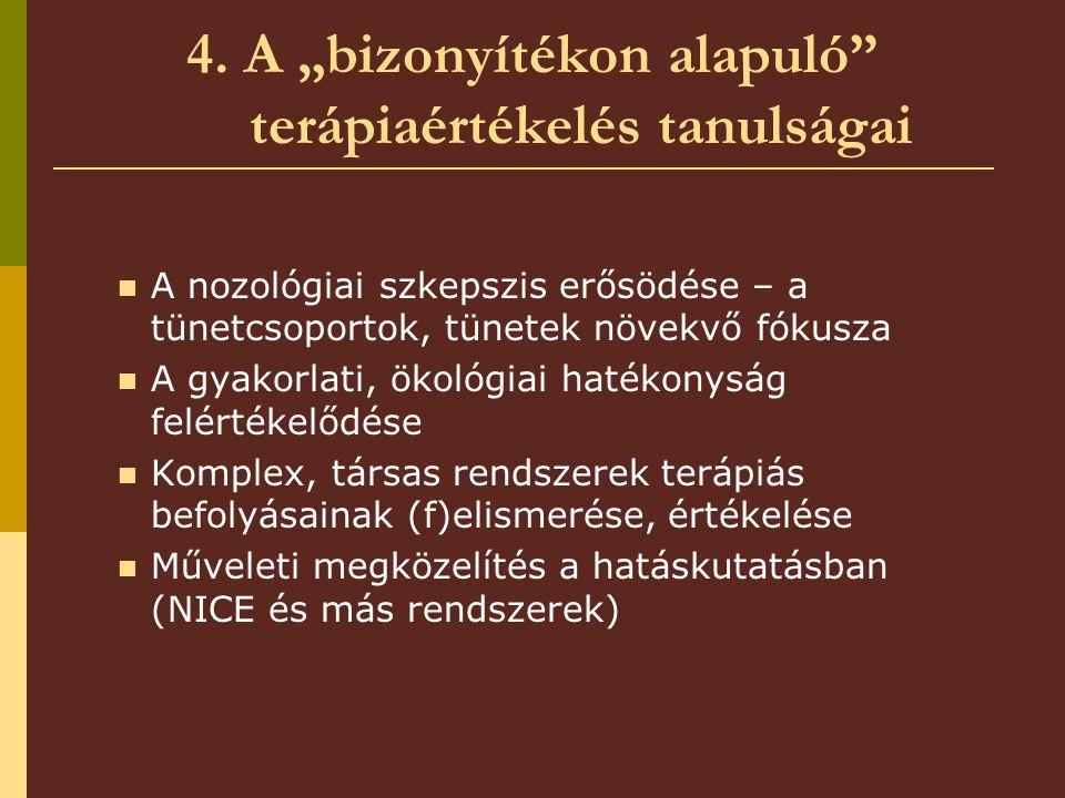 """4. A """"bizonyítékon alapuló"""" terápiaértékelés tanulságai A nozológiai szkepszis erősödése – a tünetcsoportok, tünetek növekvő fókusza A gyakorlati, öko"""