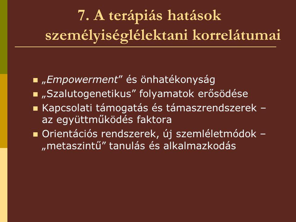 """7. A terápiás hatások személyiséglélektani korrelátumai """"Empowerment"""" és önhatékonyság """"Szalutogenetikus"""" folyamatok erősödése Kapcsolati támogatás és"""