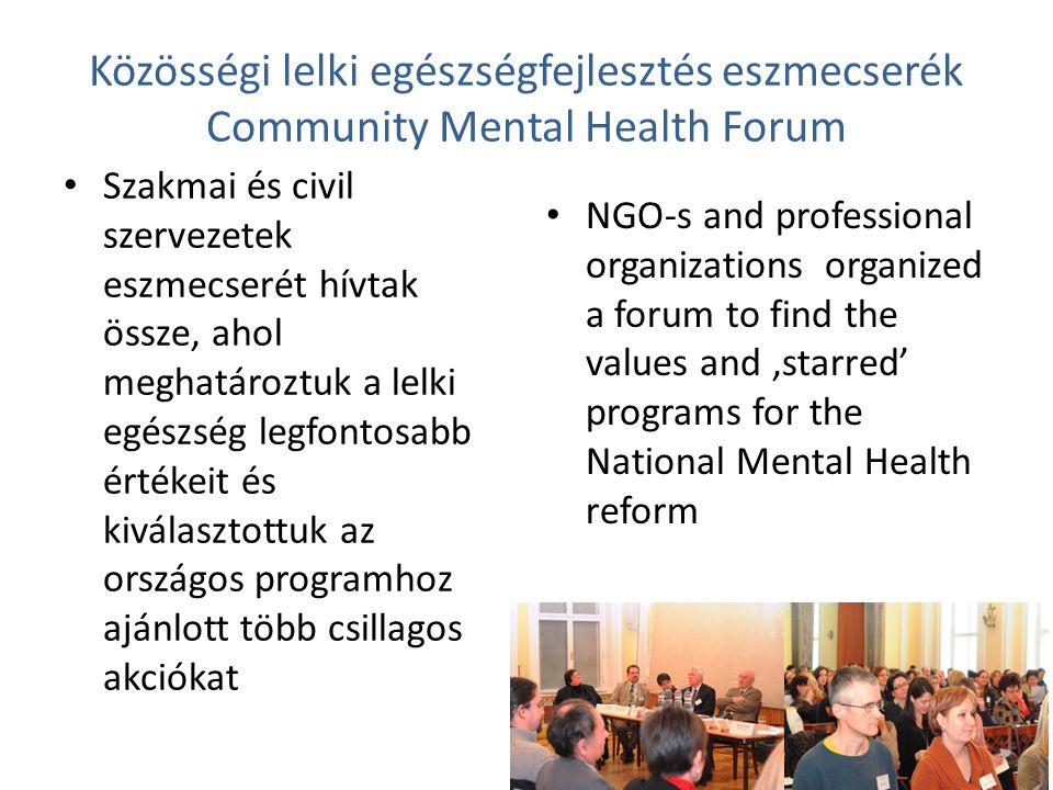 Közösségi lelki egészségfejlesztés eszmecserék Community Mental Health Forum Szakmai és civil szervezetek eszmecserét hívtak össze, ahol meghatároztuk