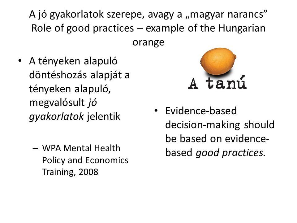 """A jó gyakorlatok szerepe, avagy a """"magyar narancs"""" Role of good practices – example of the Hungarian orange A tényeken alapuló döntéshozás alapját a t"""