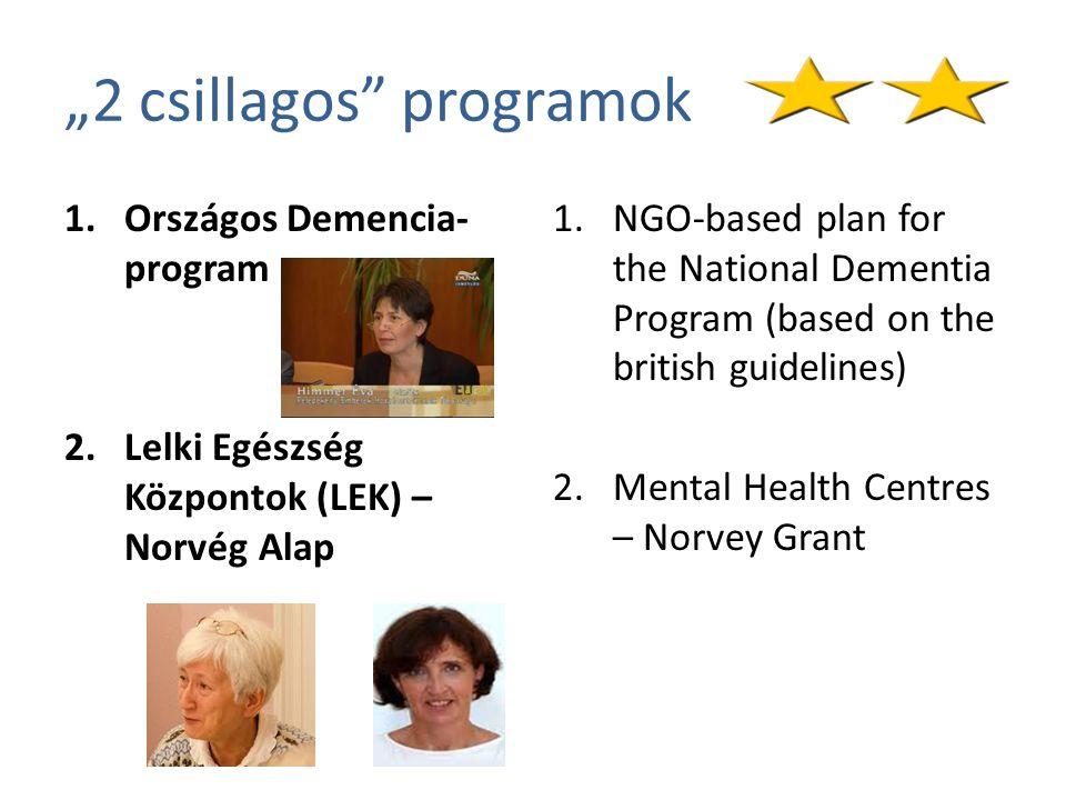 """""""2 csillagos programok 1.Országos Demencia- program 2.Lelki Egészség Központok (LEK) – Norvég Alap 1.NGO-based plan for the National Dementia Program (based on the british guidelines) 2.Mental Health Centres – Norvey Grant"""