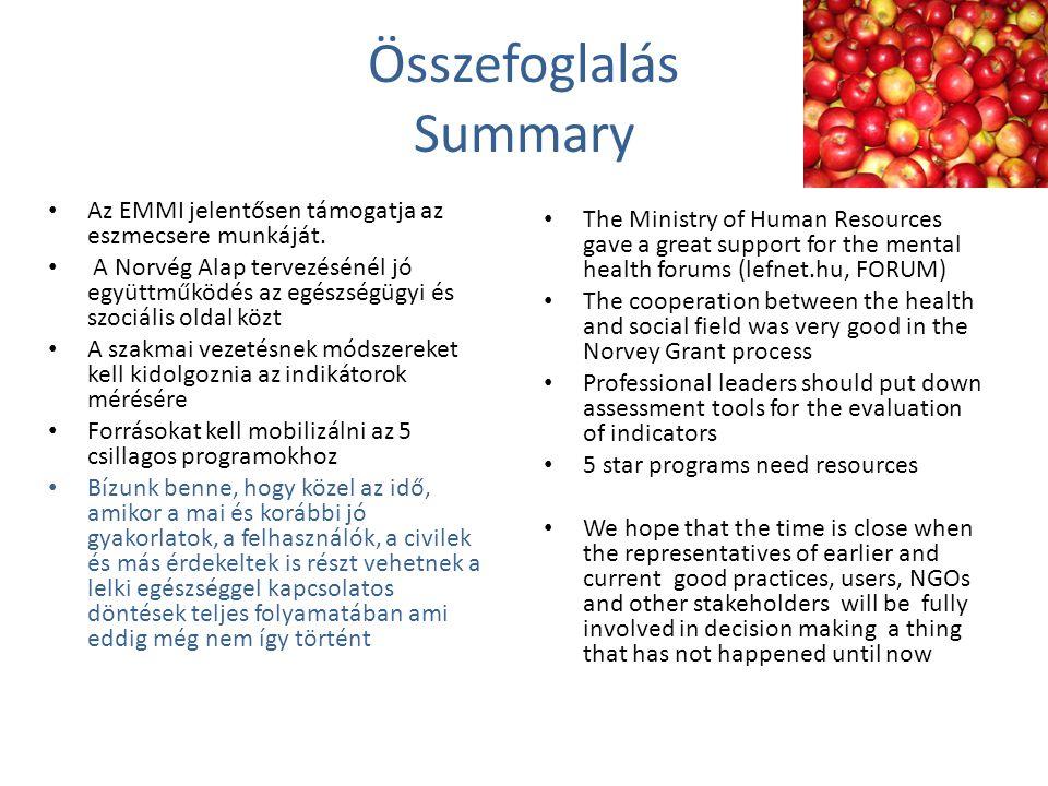 Összefoglalás Summary Az EMMI jelentősen támogatja az eszmecsere munkáját. A Norvég Alap tervezésénél jó együttműködés az egészségügyi és szociális ol