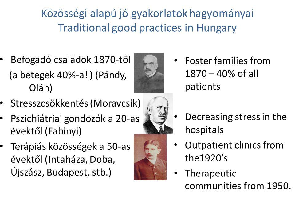 Közösségi alapú jó gyakorlatok hagyományai Traditional good practices in Hungary A pszichiátriai gondozóháló- zat kiépítése az 50-es évektől Még köztünk vannak ennek egyes vezetői: – Samu (mobilis krízis-szolgálat- és fektető), Hárdi (Pest megyei Ideggondozó-hálózat, team, pszichoterápia), Paneth (Csepeli Ideggondozó), Szivesen vesznek részt a közösségi ellátás reformjában is Megjegyzés: a gondozóhálózat az utóbbi 10 évben pusztulásnak indult, sok helyen a kórházakhoz integrálták őket.