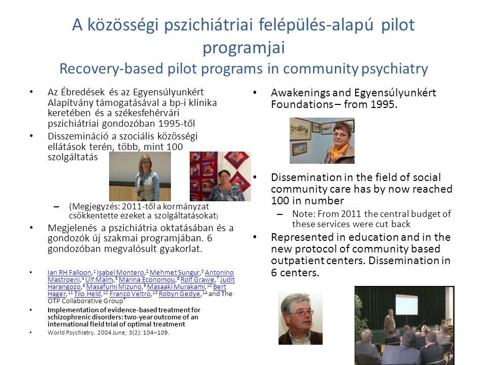 A közösségi pszichiátriai felépülés-alapú pilot programjai Recovery-based pilot programs in community psychiatry Az Ébredések és az Egyensúlyunkért Al