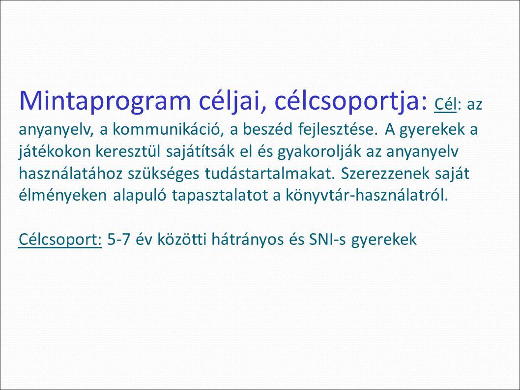 Mintaprogram céljai, célcsoportja: Cél: az anyanyelv, a kommunikáció, a beszéd fejlesztése.