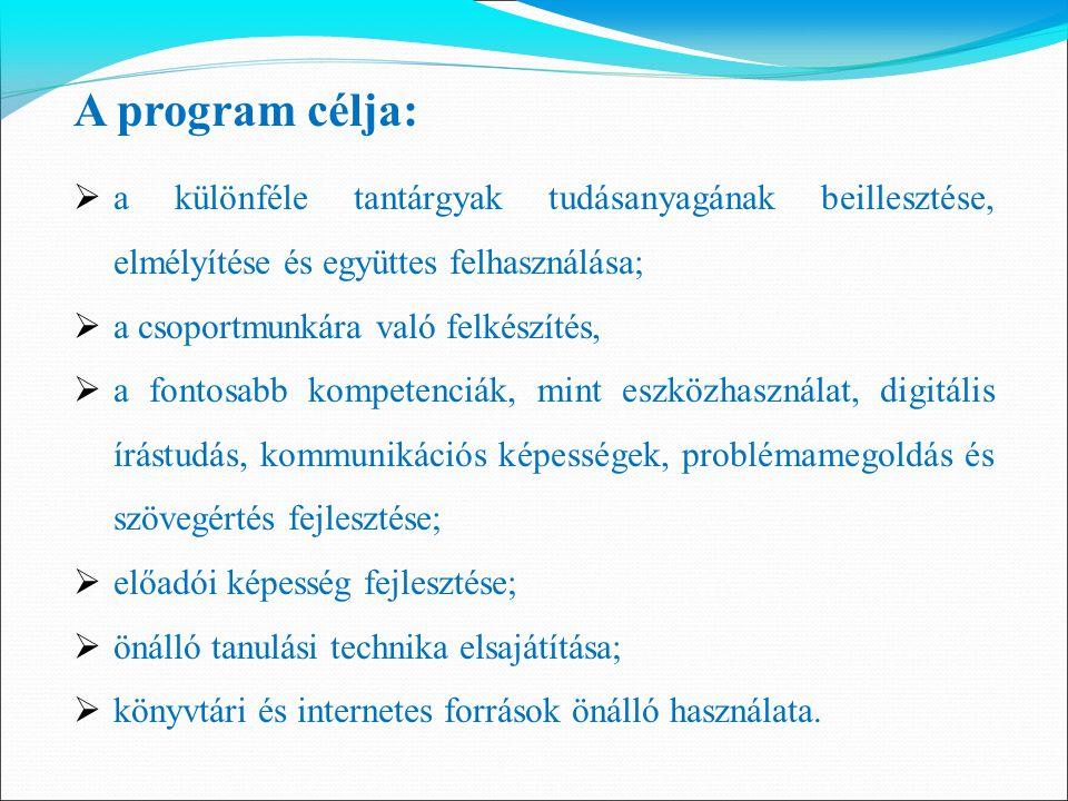 A program célja:  a különféle tantárgyak tudásanyagának beillesztése, elmélyítése és együttes felhasználása;  a csoportmunkára való felkészítés,  a
