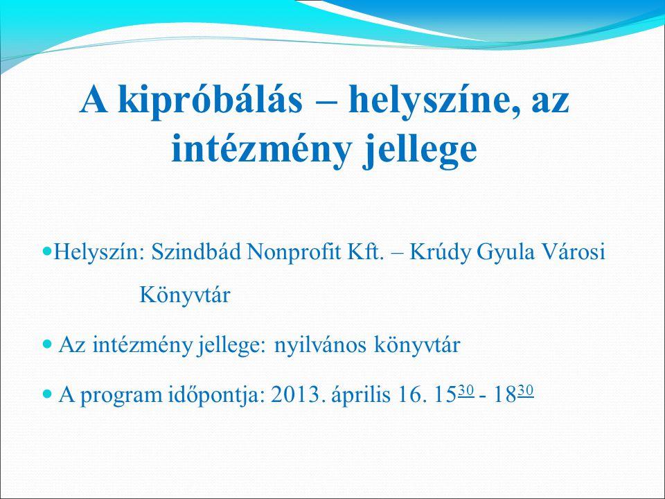 Helyszín: Szindbád Nonprofit Kft. – Krúdy Gyula Városi Könyvtár Az intézmény jellege: nyilvános könyvtár A program időpontja: 2013. április 16. 15 30
