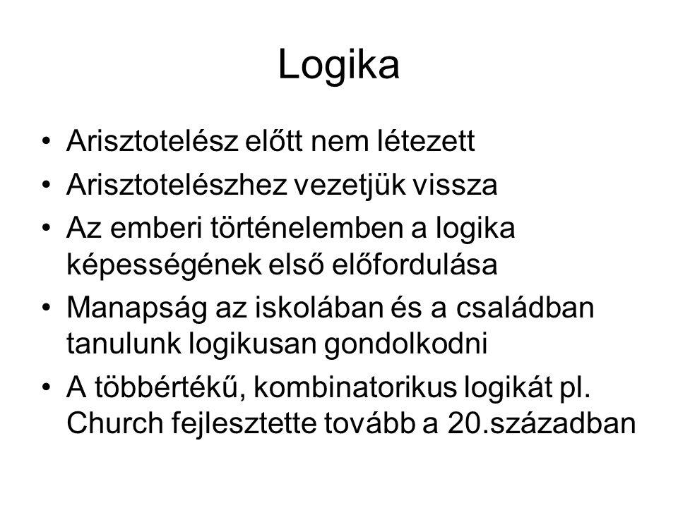 Arisztotelész előtt nem létezett Arisztotelészhez vezetjük vissza Az emberi történelemben a logika képességének első előfordulása Manapság az iskolában és a családban tanulunk logikusan gondolkodni A többértékű, kombinatorikus logikát pl.