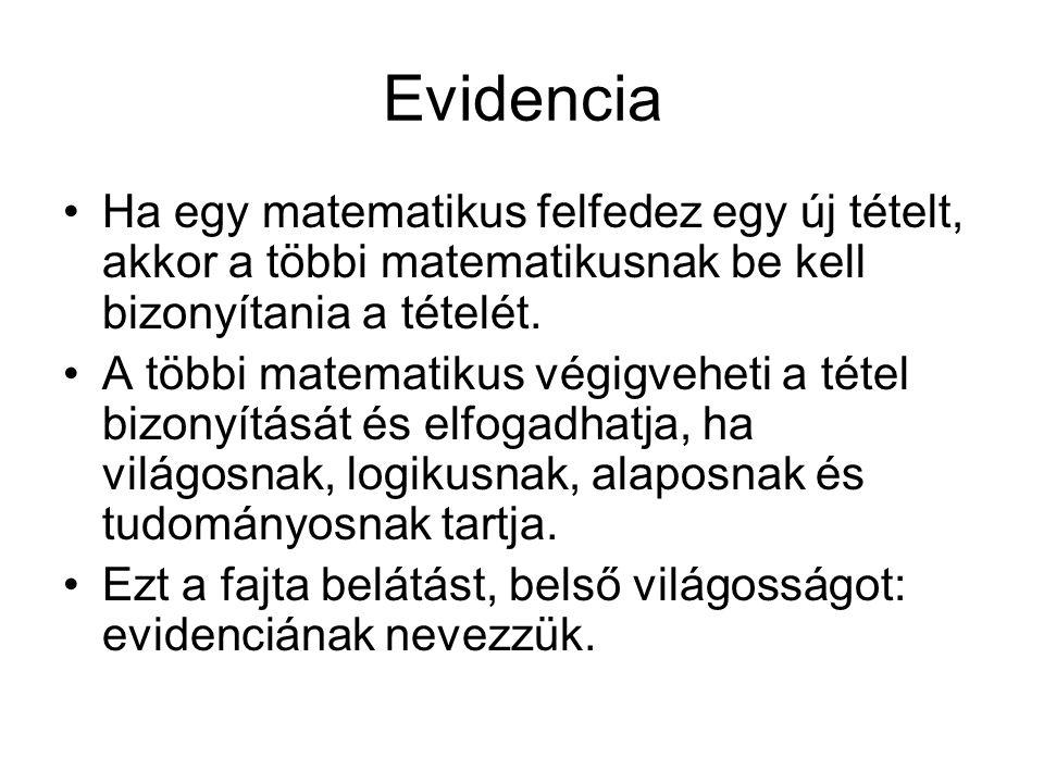 Evidencia Ha egy matematikus felfedez egy új tételt, akkor a többi matematikusnak be kell bizonyítania a tételét.