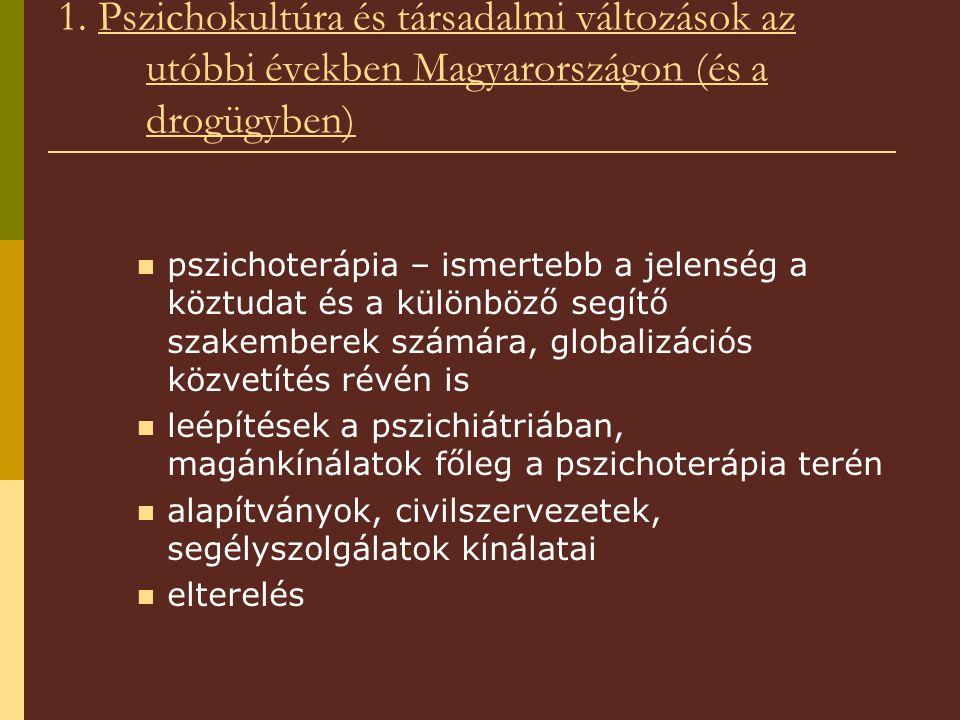 1. Pszichokultúra és társadalmi változások az utóbbi években Magyarországon (és a drogügyben) pszichoterápia – ismertebb a jelenség a köztudat és a kü