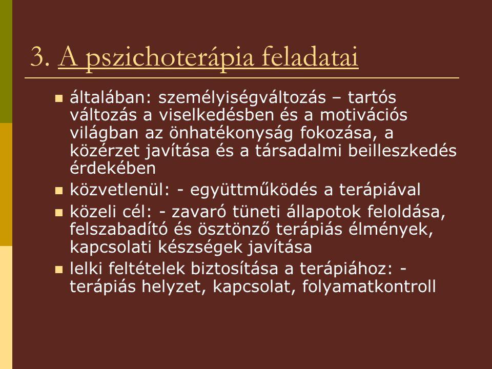 3. A pszichoterápia feladatai általában: személyiségváltozás – tartós változás a viselkedésben és a motivációs világban az önhatékonyság fokozása, a k