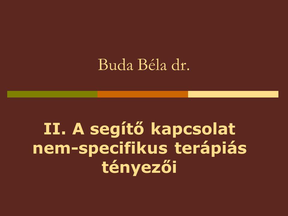Buda Béla dr. II. A segítő kapcsolat nem-specifikus terápiás tényezői
