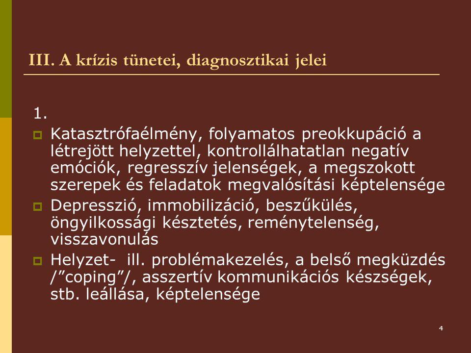 4 III.A krízis tünetei, diagnosztikai jelei 1.