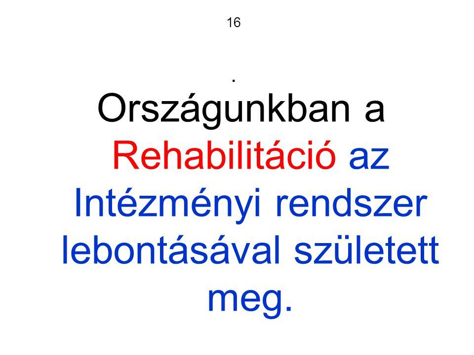 16. Országunkban a Rehabilitáció az Intézményi rendszer lebontásával született meg.