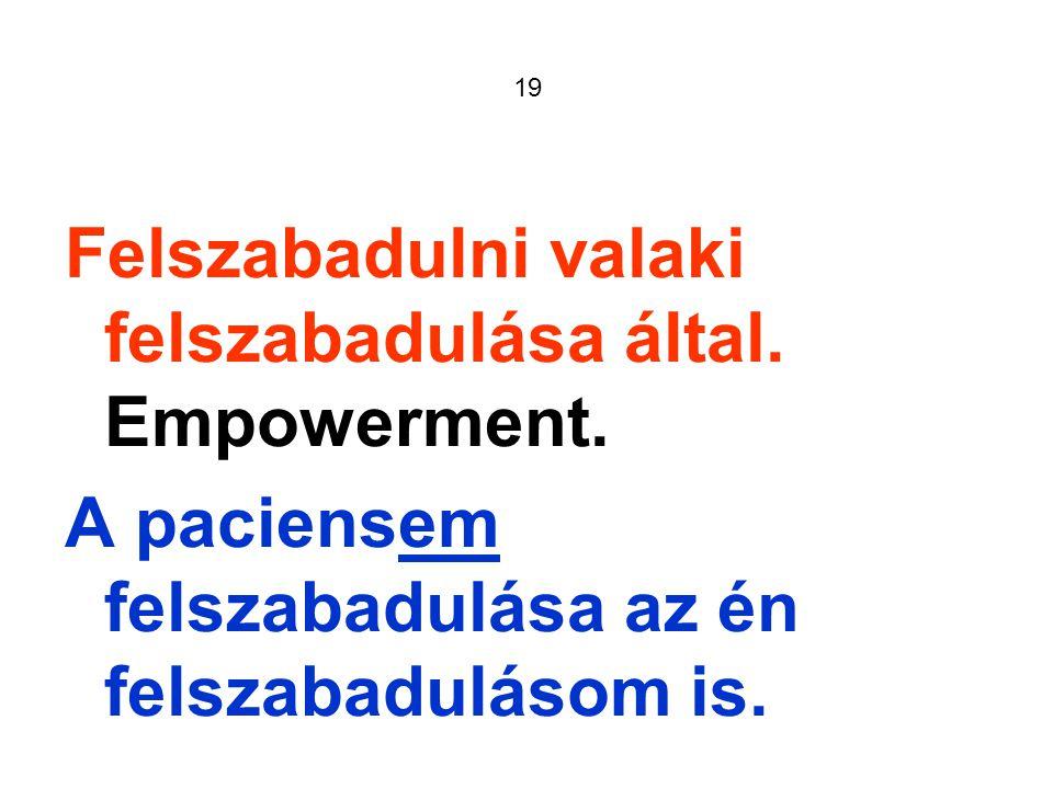 19 Felszabadulni valaki felszabadulása által. Empowerment.