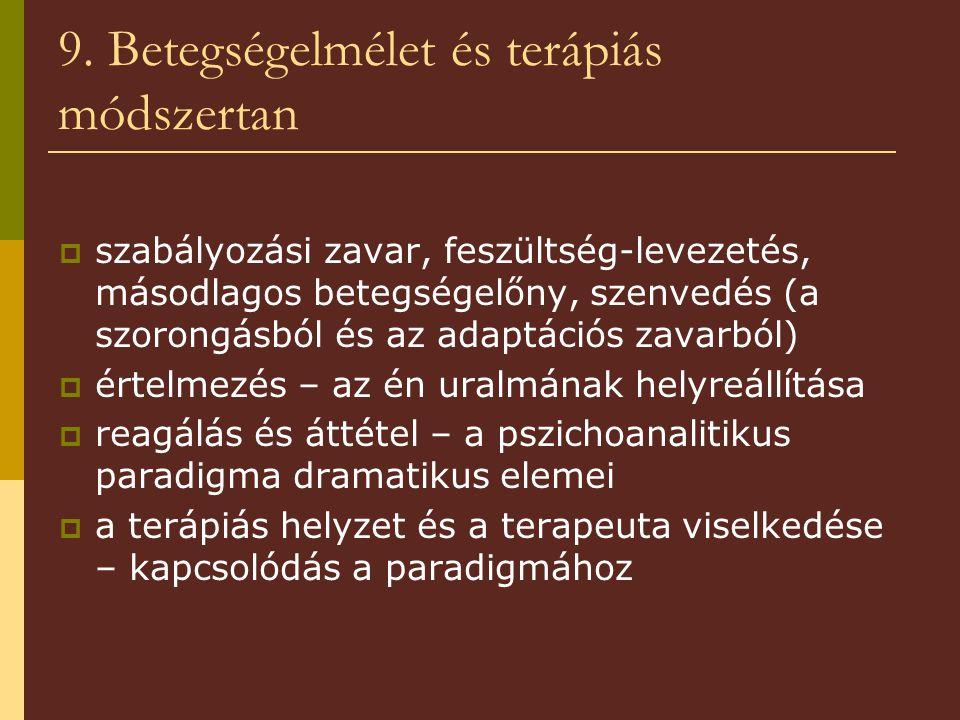 9. Betegségelmélet és terápiás módszertan  szabályozási zavar, feszültség-levezetés, másodlagos betegségelőny, szenvedés (a szorongásból és az adaptá