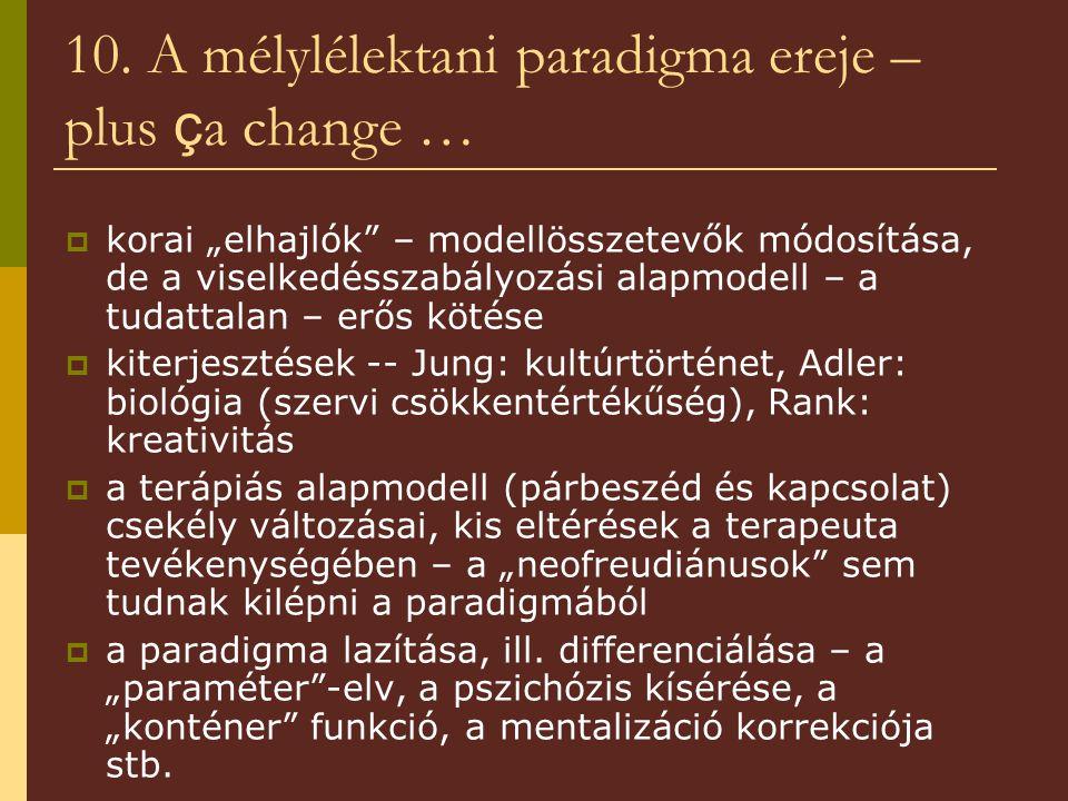 """10. A mélylélektani paradigma ereje – plus ç a change …  korai """"elhajlók"""" – modellösszetevők módosítása, de a viselkedésszabályozási alapmodell – a t"""