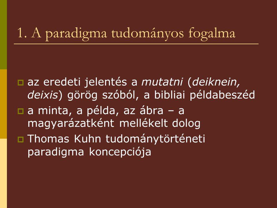 1. A paradigma tudományos fogalma  az eredeti jelentés a mutatni (deiknein, deixis) görög szóból, a bibliai példabeszéd  a minta, a példa, az ábra –