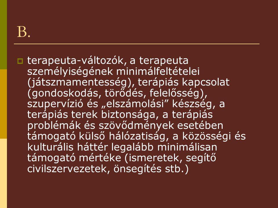 B.  terapeuta-változók, a terapeuta személyiségének minimálfeltételei (játszmamentesség), terápiás kapcsolat (gondoskodás, törődés, felelősség), szup