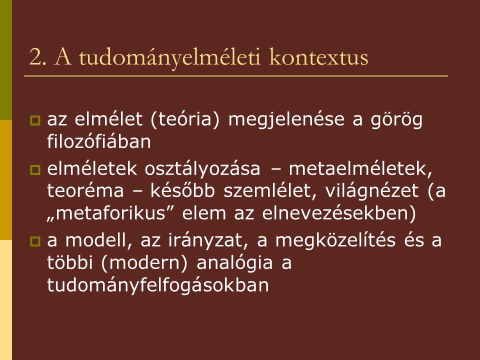 2. A tudományelméleti kontextus  az elmélet (teória) megjelenése a görög filozófiában  elméletek osztályozása – metaelméletek, teoréma – később szem