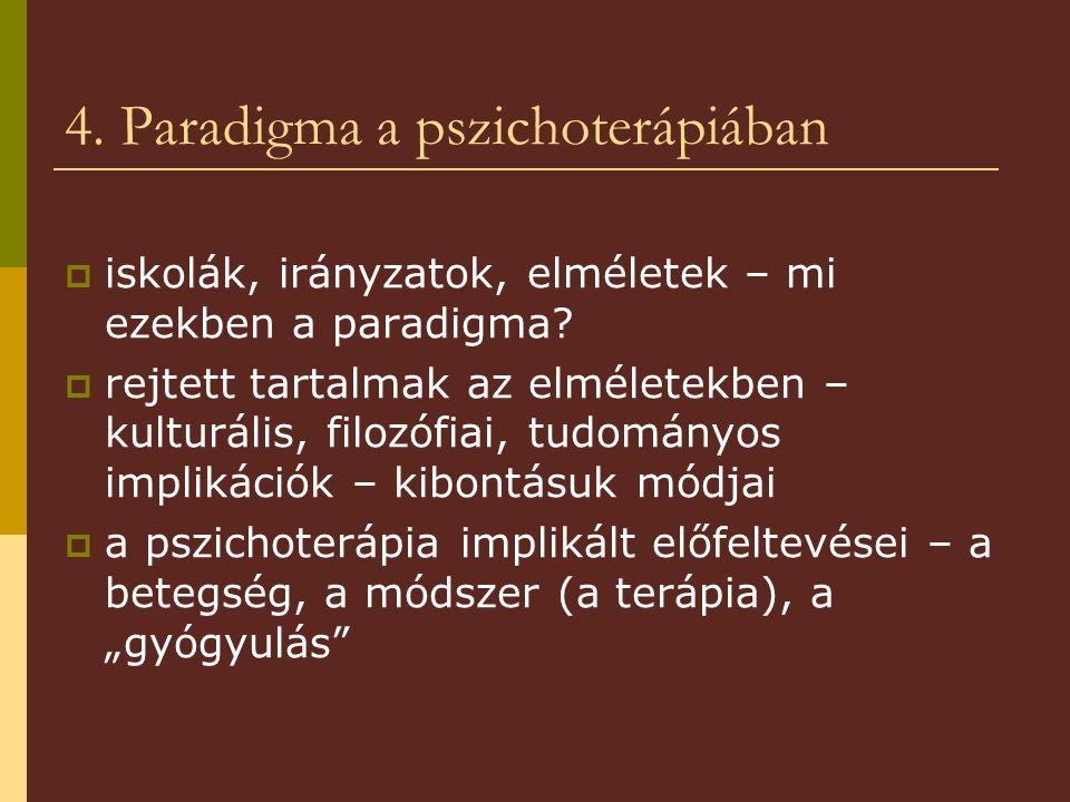 4. Paradigma a pszichoterápiában  iskolák, irányzatok, elméletek – mi ezekben a paradigma.