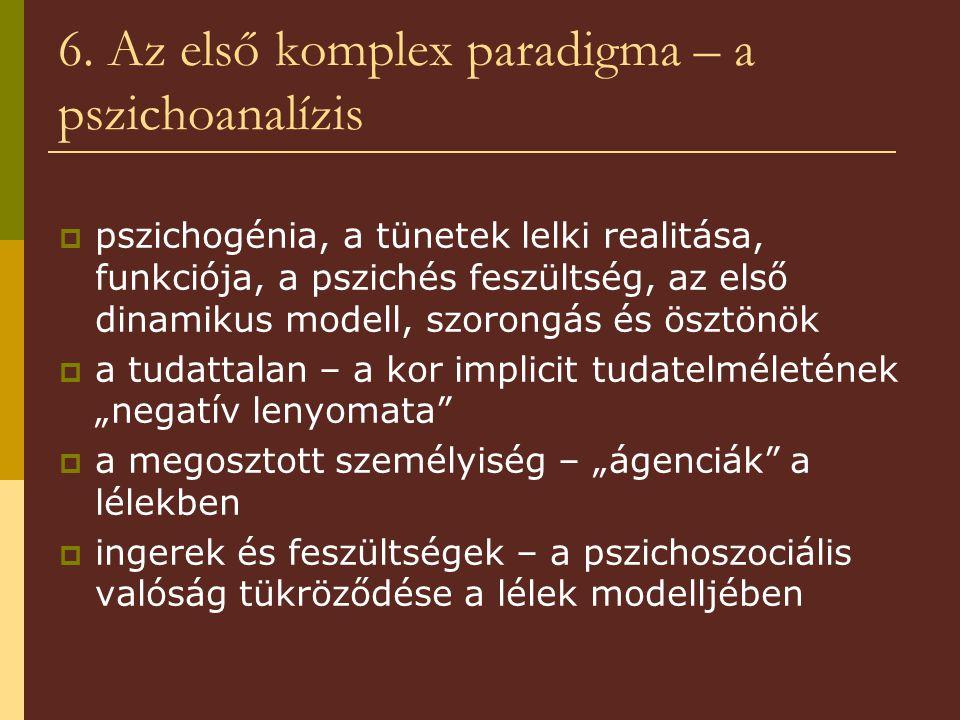 6. Az első komplex paradigma – a pszichoanalízis  pszichogénia, a tünetek lelki realitása, funkciója, a pszichés feszültség, az első dinamikus modell